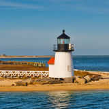 Brant Point Lighthouse Nantucket Massachusetts US. The Brant Point Lighthouse at the entrance to Nantucket Harbor. The 26 foot tall white wooden lighthouse tower Royalty Free Stock Photo