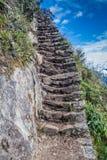 Brant slinga som leder till det Machu Picchu berget royaltyfria foton