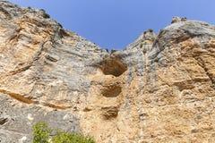 Brant sluttningdetalj p? den Barranco de la Hoz Seca kanjonen bredvid Jaraba fotografering för bildbyråer