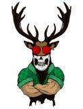 Brant trendigt hjortHipsterdjur Tappningstilillustration för tatueringen, logo, emblem royaltyfri illustrationer
