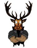 Brant trendigt hjortHipsterdjur Tappningstilillustration för tatueringen, logo, emblem stock illustrationer