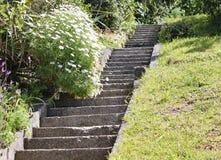 Branta konkreta moment i en trädgård i gummistöveln, Nya Zeeland Ett av nöjena av att bo upptill av en brant kulle royaltyfri bild
