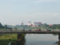 Brantas Bridge. A bridge that connected 2 part of kediri city that seperated by brantas river royalty free stock image