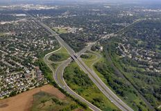 Brantford aerial. Aerial view of Brantford Ontario above Highway 403 view from West to East, Canada Stock Images