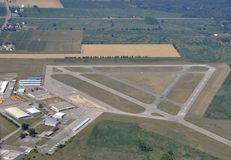 Brantford airport aerial. Aerial view of the municipal airport in Brantford, Ontario Canada Stock Image
