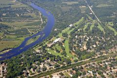 Brantford Golf course aerial. Aerial view of the Golf course along the Grand river in Brantford Ontario, Canada Stock Images