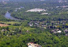Brantford Grand River aerial. Aerial view of a green space along the Grand River in Brantford Ontario, Canada Royalty Free Stock Image