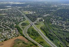 Brantford highway intersection. Aerial view of a highway intersection near Brantford, Ontario Canada Stock Photography