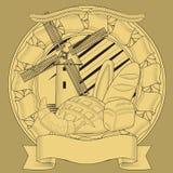 Brasão da grão do moinho do pão imagem ilustração do vetor
