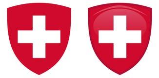Brasão de Suíça Cruz helvetic branca no protetor vermelho Fl ilustração stock