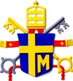A brasão do papa polonês Paul II colocou o reconstructio imagem de stock