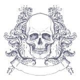 Brasão gótico com o crânio Etiqueta do vintage Desi retro do vetor Imagens de Stock Royalty Free