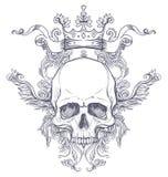 Brasão gótico com o crânio Etiqueta do vintage Desi retro do vetor Imagem de Stock Royalty Free