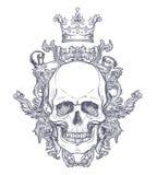 Brasão gótico com o crânio Etiqueta do vintage Desi retro do vetor Imagem de Stock