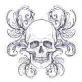 Brasão gótico com o crânio Etiqueta do vintage Desi retro do vetor Fotos de Stock