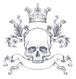 Brasão gótico com o crânio Etiqueta do vintage Desi retro do vetor Fotografia de Stock