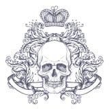 Brasão gótico com o crânio Etiqueta do vintage Desi retro do vetor Fotografia de Stock Royalty Free