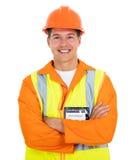 Bras électriques de travailleur pliés photographie stock libre de droits