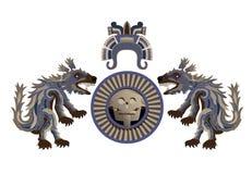 Bras aztèques avec le coyote plumeux Images libres de droits