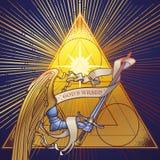 Bras d'Arkhangel Michaels dans l'armure tenant une épée sur une triangle d'or avec les faisceaux lumineux rayonnant derrière illustration libre de droits