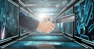 Bras d'homme d'affaires serrant la main au bras du robot 3D dans le couloir 3D Photo stock