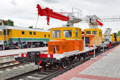 Bras 220 de chariot Musée de Novosibirsk d'équipement de chemin de fer en novembre Photographie stock libre de droits