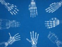 Bras de CrRobotic - architecte Blueprint de mains illustration libre de droits