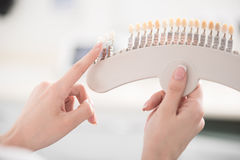 Bras de dentiste démontrant l'exemple des dents Image libre de droits