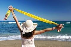 Bras de femme tendus par la mer Photographie stock libre de droits