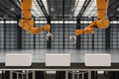 Bras de robot avec des boîtes Photo stock