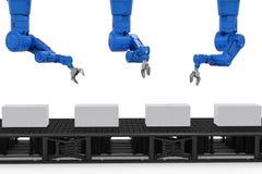 Bras de robot avec des boîtes Photographie stock libre de droits