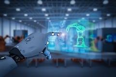 Bras de robot de contrôle de cyborg images libres de droits