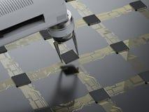 Bras de robot fonctionnant avec l'unité centrale de traitement illustration de vecteur