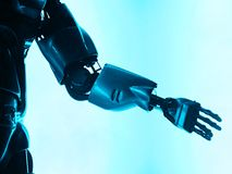 Bras de robot se serrant la main Image libre de droits