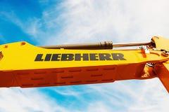 Bras hydraulique d'excavatrice de Liebherr Photographie stock