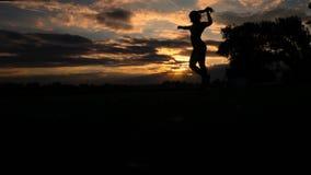 Bras ouverts de femme forte de confiance sous le lever de soleil au mouvement lent de bord de la mer clips vidéos