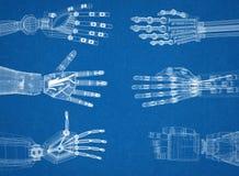 Bras robotique - architecte Blueprint de mains illustration libre de droits