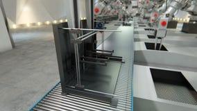 Bras robotique assemblant 3d l'imprimante On Conveyor Belt illustration de vecteur