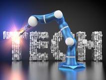 Bras robotique dans la pose de fabrication Images stock