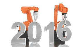 Bras robotique industriel construisant 2016 Photo stock