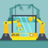 Bras robotique Ligne fabrication de mécanicien Photos stock