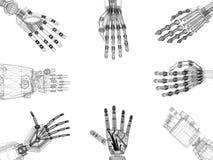 Bras robotiques - architecte Blueprint de mains - d'isolement illustration libre de droits