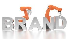 Bras robotiques industriels établissant le mot de marque Photo libre de droits