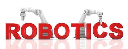 Bras robotiques industriels établissant le mot de ROBOTIQUE Photos libres de droits