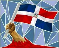 Bras soulevant le drapeau national de la République Dominicaine  illustration stock