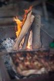 brasa loan grå lampa för brand den wood vedtraven Grilla och laga mat brand Woodfire med flammor Royaltyfria Bilder