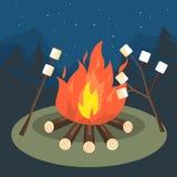 Brasa marshmallowgaller som campar, lopp vektor illustrationer