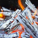 Brasa och wood kol Arkivfoton