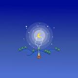 Brasa på konst för vektor för nattberglandskap Royaltyfria Bilder