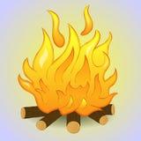 Brasan med trä och flamman avfyrar på grå bakgrund Enkel tecknad filmstil också vektor för coreldrawillustration royaltyfri fotografi